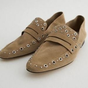 Zara leather loafers with metal details